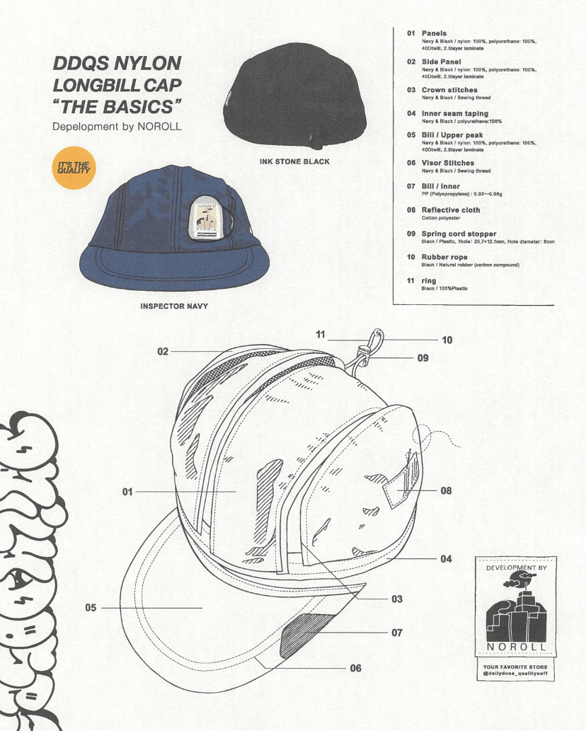 "DDQS NYLON LONGBILL CAP ""THE BASICS"""